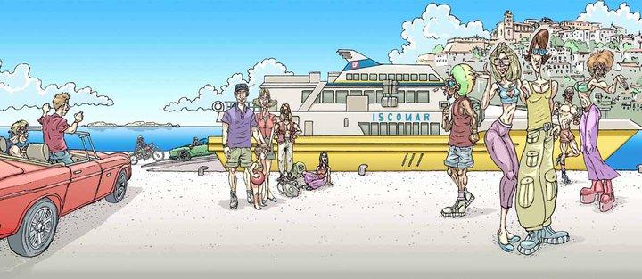 Iscomar Ferrys advertisement campaign Illustration