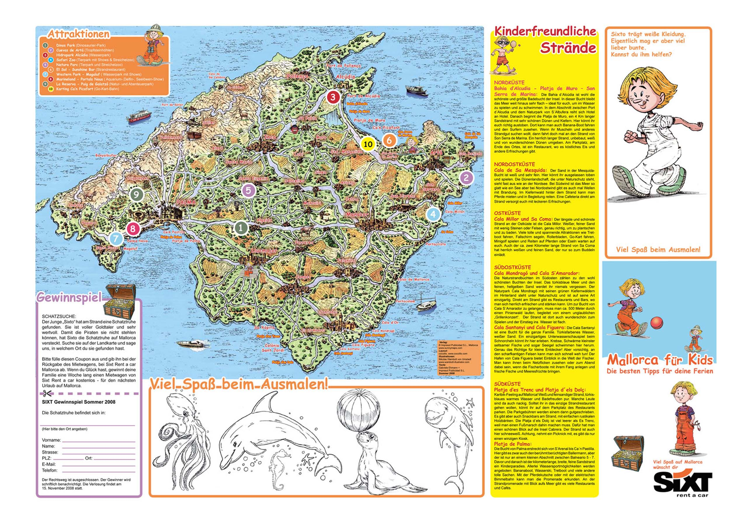 Mallorca for Kids map for Sixt Rent a Car