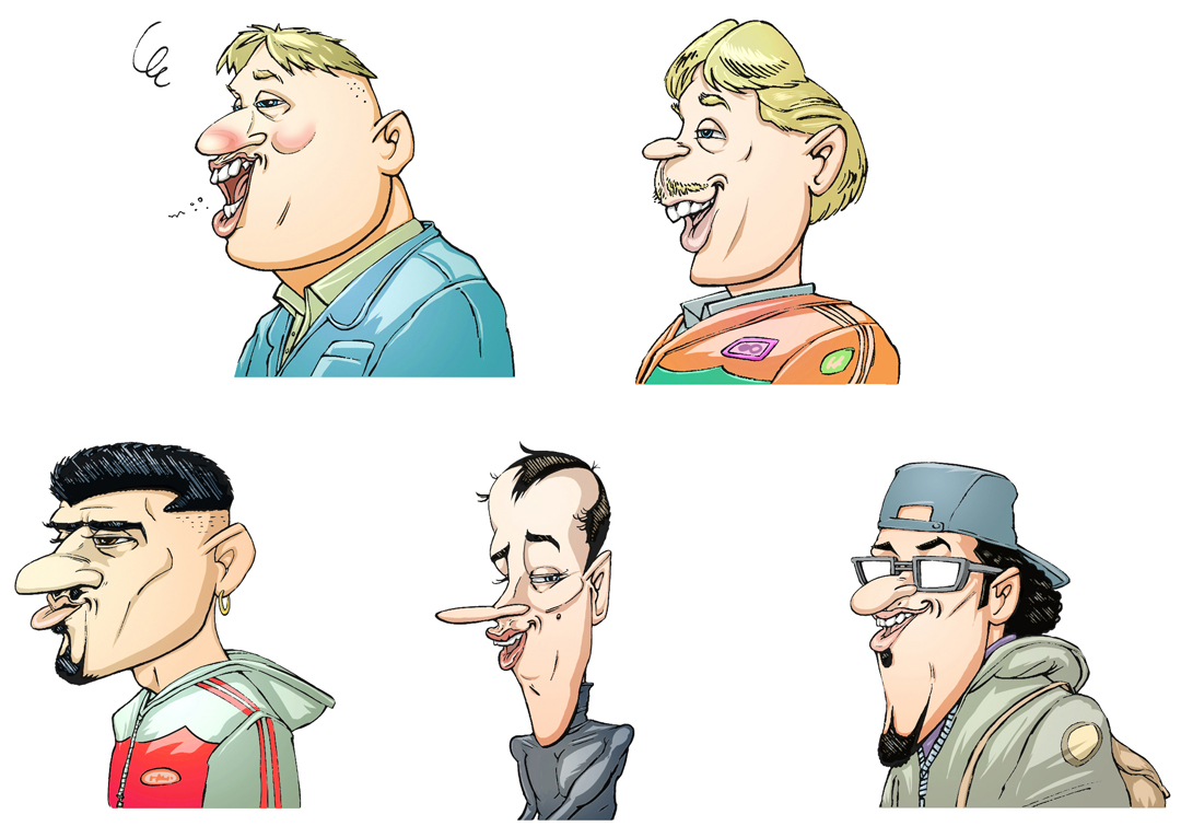Assorted urban characters I did some years ago for mobilephone ringtone company promotion (I remember they had them say something funny with their different recorded voices in german)