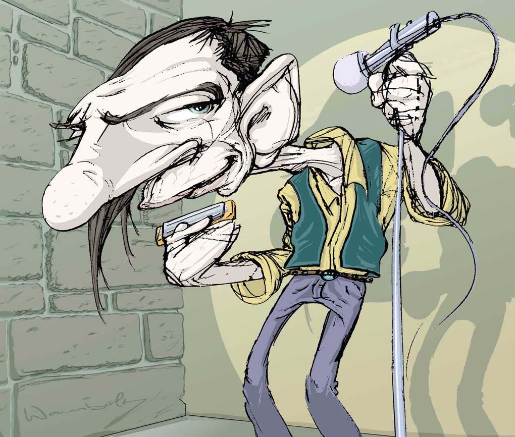 El Gran Murfy. Famoso musico bohemio, genio de la Harmonica del Blues y personaje inconfundible del barrio de Malasaña en Madrid.
