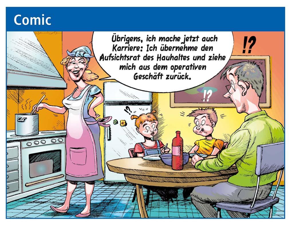 Cartoon Zeitschrift Volksbank Heilbronn-Idee Jörg Rentrop