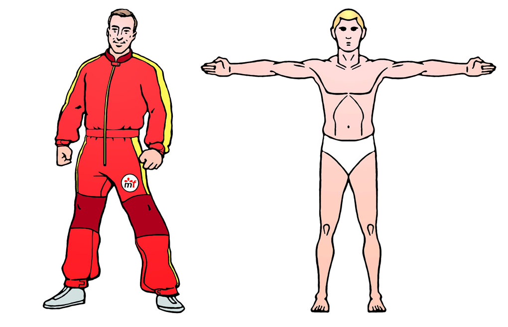 Illustration for website of custom Skydiving jumpsuits manufacture